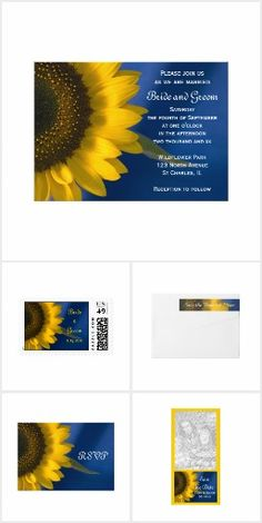 Sunflower Blue WEDDING SET COLLECTION Pretty Personalized Floral Flowers Sunflowers  Stationery Products Invites Announcements Invitations RSVP Sticker Address Labels Postage Stamps Cards & More!