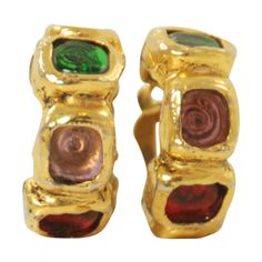 1970s-80s Chanel Hoop Gripoix Earrings | From a unique collection of vintage  at http://www.1stdibs.com////