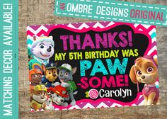 Paw Patrol Thank You Card for the Girls! IMatching Girl Paw Patrol Invites available! #pawpatrol #girlparties