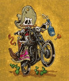 The moto-loving mariachi rips through the desert on his custom ride, braking only for a refill of his favorite tequila. Painting Process The bright yellow background was first painted with alternating