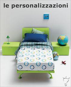 Personalizza la testiera del letto scegliendo tra le tante proposte a disposizione, oppure inserisci un dettaglio inusuale ed esprimiti con forme e colori: con Klou la tua cameretta è davvero come vuoi tu.