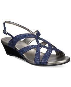 Bandolino Gomeisa Embellished Wedge Sandals - Blue 9.5M