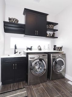 Laundry room - black and white decor - love the transom window in the middle | Tiffany MacKinnon