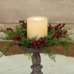 Cedar w/ Berries Candle Ring - - Red Cedar w/ Berries Candle Ring – -Red Cedar w/ Berries Candle Ring - - Red Cedar w/ Berries Candle Ring – - 121 absolutely stunning ideas for christmas table decorations page 14 Christmas Decor Diy Cheap, Silver Christmas Decorations, Christmas Centerpieces, Outdoor Christmas, Diy Christmas Gifts, Rustic Christmas, Christmas Home, Vintage Christmas, Christmas Wreaths