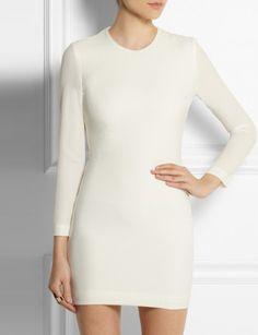 IRO Gaia open-back leather-trimmed crepe mini dress