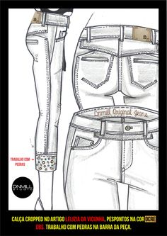 Croquis Femininos - Verão 2016 Fashion Flats, Denim Fashion, Womens Fashion, Fashion Sketchbook, Fashion Sketches, Flat Drawings, Fashion Templates, Summer Jeans, Fashion Portfolio