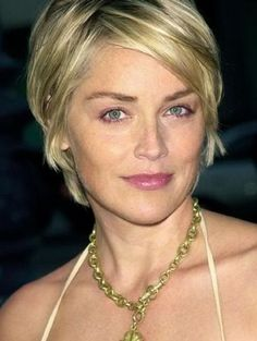 Sharon Stone. Cute short hair cuts for women with square faces.