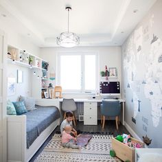 small bedroom for kids with study table and small lampshade kbhome