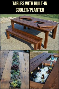 Learn how to build a customized picnic table that doubles as a planter and cooler!