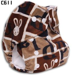 Brown plaid White Rabbit Happy Flute Baby Printed Minky Cloth Diapers US$6.99