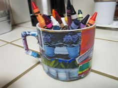 unused coffee mugs...collage and repurpose them!