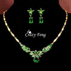 Aliexpress.com: Compre Mulheres ouro amarelo 18 k cheio CZ colar + brincos jóias flor 3 cores de confiança caixa de jóias para brincos fornecedores em WarmFamily