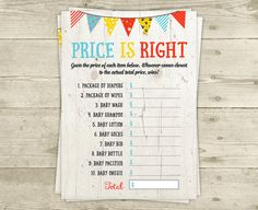 The Price is Right Baby Shower Game Printable by CelebrateBabyCo