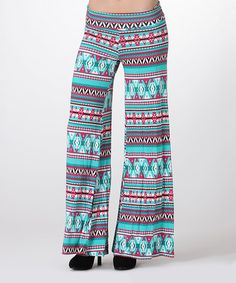 Loving this Teal & Fuchsia Tribal Palazzo Pants on #zulily! #zulilyfinds