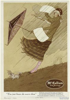 Marjory C. Woodbury, McCallum Silk Hosiery, 1922 , originally uploaded by Gatochy . Via NYPL Digital Gallery . Vintage Umbrella, Umbrella Art, Under My Umbrella, Vintage Advertisements, Vintage Ads, Vintage Images, Vintage Posters, Blowin' In The Wind, Singing In The Rain