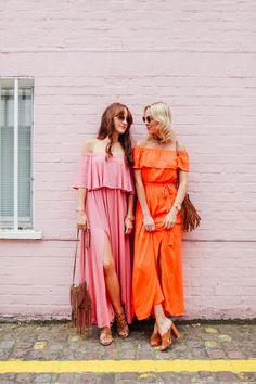 2 Ways to Colour Block - Belle & Bunty Blog  pink, street style, orange, maxi dress, bloggers, street style