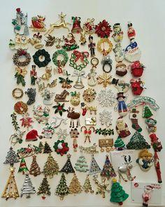 96 Vintage & Modern Christmas Brooch Lot ART LIA Gerrys JJ Avon Rhinestone AJMC #vintage #jewelry #ebay #fashion #christmas