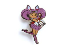 """Sailor Moon fans rejoice! Live out your dreams as a sailor scout. This cute Chibiusa pin is a great companion to our Sailor Moon and Artemis and Luna pins. Fight evil by moonlight and win love by daylight in style. --------------------------Limited Edition Pin Collector's Item Approximately 1.5"""" x 0.93""""Hard Enamel, Gold Lapel Pins With Screen-printed details Rubber Clutches Comes with a holographic backing card"""