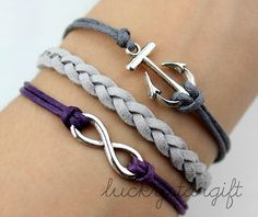 Infinity charm & cool anchor rope bracelet with by luckystargift, $3.19