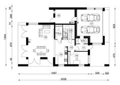 DOM.PL™ - Projekt domu NA FX-25 CE - DOM NA1-11 - gotowy koszt budowy Modern Barn House, River House, Home Projects, Building A House, House Plans, Floor Plans, House Design, How To Plan, Interior Design