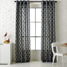 bamboo printed window panel west elm 43 would be so. Black Bedroom Furniture Sets. Home Design Ideas
