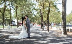 Matt Shumate Photography bride and groom portrait at Riverfront Park in Spokane before heading to Beacon Hill Events for the wedding ceremony and reception