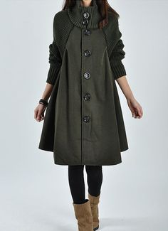 Army green Wool coat woolen dress wool Jacket by originalstyleshop, $65.00