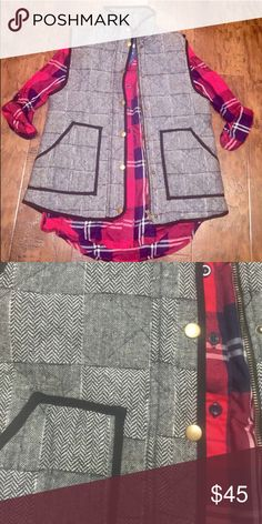Herringbone J crew inspired puffer vest New without tags blue rain Jackets & Coats Vests