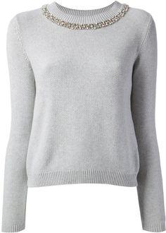 Pinko crystal embellished neckline sweater on shopstyle.com