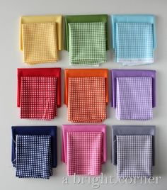 Gingham fabric stacks - gorgeous colors!  Riley Blake ginghams :)