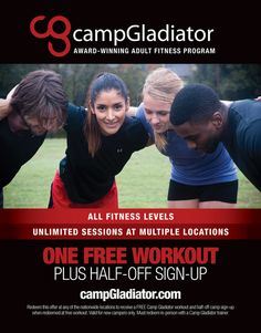 Try a FREE Camp Gladiator workout session! If you like it you get 50% off when you sign-up!