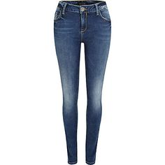 mid wash denim amelie superskinny jeans - skinny jeans - jeans - women - River Island