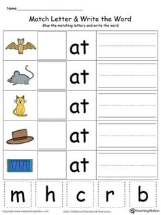 **FREE** OG Word Family Match Letter and Write the Word in Color Worksheet.Topics: Word Families, Reading, Phonics, and Building Words. English Worksheets For Kindergarten, Phonics Worksheets, Phonics Activities, Reading Worksheets, Printable Worksheets, Kindergarten Kid, Kindergarten Reading Activities, Phonics Reading, Handwriting Worksheets