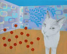 'kat i rum med orange blomster' - akryl og blyant på lærred, 65 x 80 cm Kat, Kids Rugs, Paintings, Home Decor, Decoration Home, Kid Friendly Rugs, Paint, Room Decor, Painting Art