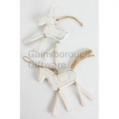 Wooden Hanging Reindeer and Horse, 2a @ gainsboroughgiftware.com Winter White, Winter Wonderland, Clothes Hanger, Reindeer, Woodland, Horses, Christmas, Coat Hanger, Xmas