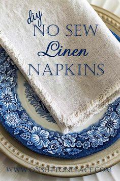 DIY No Sew Linen Napkins   On Sutton Place