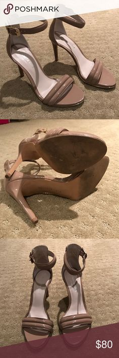 Kenneth Cole patent nude heels Worn only once! Patent nude/taupe color sandals with ankle buckle strap. Size 6 Kenneth Cole Shoes Heels