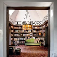 Diane Keaton transformed a double-height entrance hall at her Beverly Hills home into a stylish library