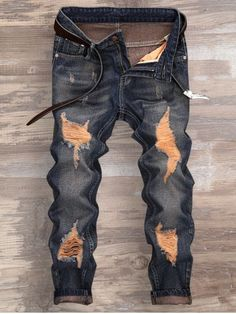 Men's Denim Jogger Pants Ripped Slim Fit Jeans With Holes XARAZA Stylish XARAZA Denim Pants is the perfect gift for fashionable men./bbrbr Please refer to the measurement chart below before you buy the item. Ripped Jeans Men, Biker Jeans, Cuffed Jeans, Torn Jeans, Men's Denim, Men's Jeans, Blue Denim, Skinny Jeans, Mens Fashion Wear