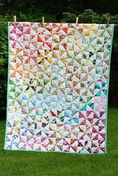 Half-Square Triangle Rainbow Quilt
