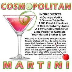 cosmo drink recipes | ... perfect for your cocktail entertainment area series martini cocktail