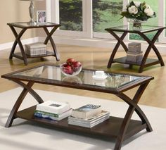 3pc Coffee Table Set with X Base in Rich Cappuccino Finish * You can get additional details at the image link.Note:It is affiliate link to Amazon.