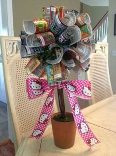 lottery tree ideas - minus the Hello Kitty ribbon Fundraiser Baskets, Raffle Baskets, Gift Baskets, Lottery Ticket Tree, Theme Baskets, Chinese Auction, Silent Auction Baskets, Stag And Doe, Money Trees