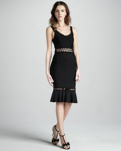 Ruffled Cutout Bandage Dress by Herve Leger at Neiman Marcus.