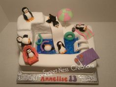 Penguin Pool Party Cake Sweet-Ness Creations