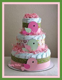 Bird Diaper Cake . Baby Girl baby Shower . Nesting Baby Shower