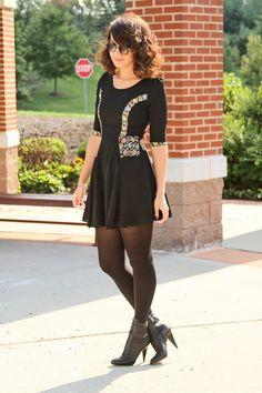 black dress + ankle boots