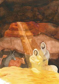 Nativity by John Meng-Frecker Bible Pictures, Jesus Pictures, Christian Paintings, Christian Art, Egypt Art, O Holy Night, Biblical Art, Jesus Art, Catholic Art