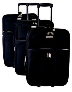Elegant Vogue 3 Piece Trolley Set @ R1,600  Features: Fully Lined,No 10 Zip,Internal Wheels,Push Button Handle,600D Polyester,Zip Locking Sliders  Available Colours: Black/Grey, Light Blue, Maroon  #LuggageLadies #ValueForMoney #Travel #Luggage #TravelSets Grey Light, Travel Luggage, Sliders, Lady, 3 Piece, Black And Grey, Wheels, Vogue, Handle