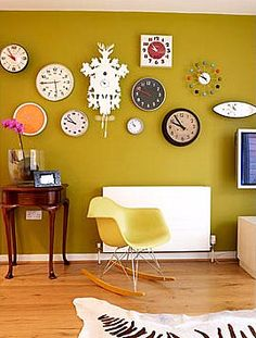 Wall of Clocks!  I drew a sketch like this a few years ago, it was going to happen in my apt.